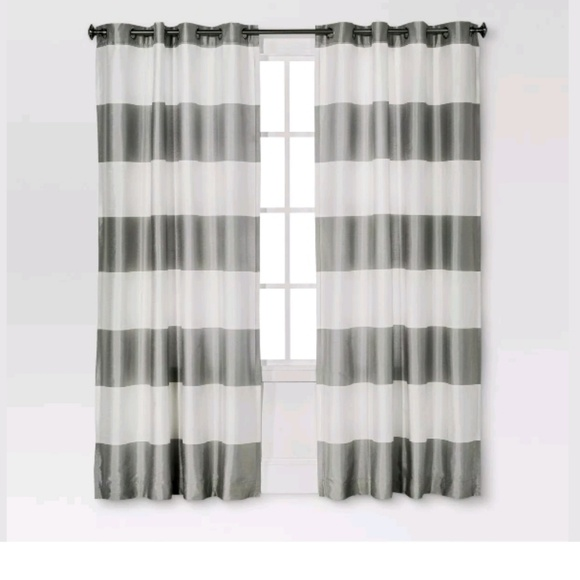 Threshold Other - BOLD STRIPED GOURMET CURTAIN -WHITE/GRAY